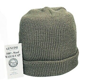 40214bbe4be201 OD GREEN MILITARY Issue Wool Watch Cap 100% Wool Skiing Beanie ...