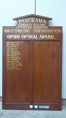 Large Wooden Honour Roll Board By Opsm Panorama College Awards 1976 - 1990