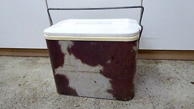 Vintage Willow Esky Cow Hide Print Retro Cooler Collectable