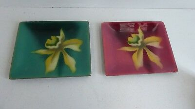 Vintage Japanese Ando Cloisonne Enamel Dishes Floral Decorative - Stickered