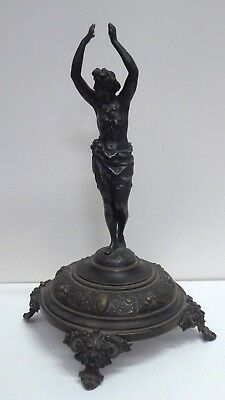 Antique Cast Bronze Figural Lady Statue Roman Ornate Footed Base