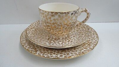English Empire Gilt Pattern Pottery  Porcelain Bone China Trio Cup Saucer Plate