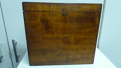 Antique Dovetailed Wooden Teak  Instrument Scientific Case Box