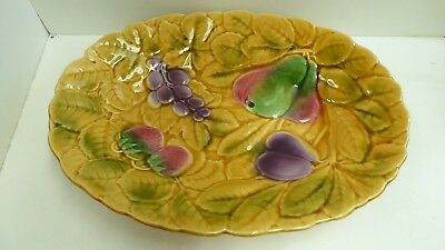 Antique Sarreguemines Majolica Fruit Plate French Pottery