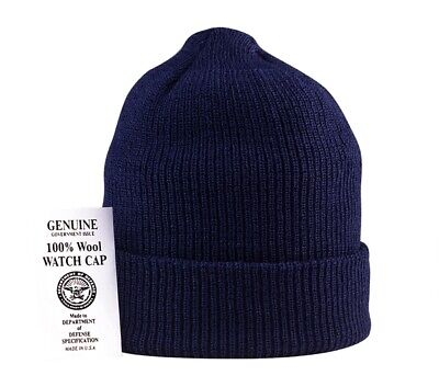 d36ee845a2ddc9 NAVY BLUE 100% Wool Hat Winter Cap Knitted Military Watch Cap USA ...
