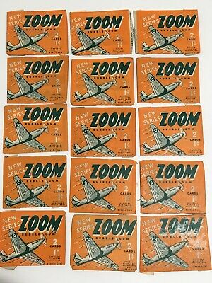 Lot of 15 Zoom Bubble Gum Airplane Wax Wrappers and Cards 1941 Gum Products Inc.