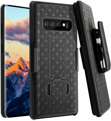 Samsung Galaxy S10 Belt Clip Holster Combo Cell Phone Case Kick Stand Cover Plus