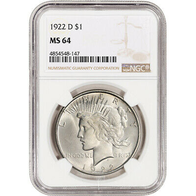 1922-D US Peace Silver Dollar $1 - NGC MS64