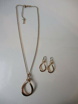 Nice Jewelry Set __Fossil__Stainless Steel Gold-Plated__Necklace Pendant & Ear