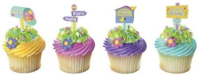 New Easter Cake Toppers Baby Chicks with Tulips Cupcake Picks One Dozen