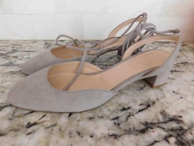 5207199515a8 JCrew  178 Ankle-Wrap Slingback Heels in Suede G4095 Sz 8 Antique Dove Grey  NEW
