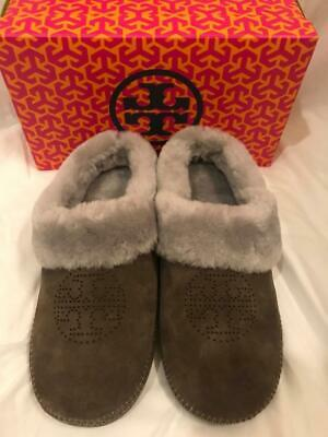 0a005020e62e TORY BURCH COLEY Slippers Split Suede Royal Tan Natural 203 NIB ...