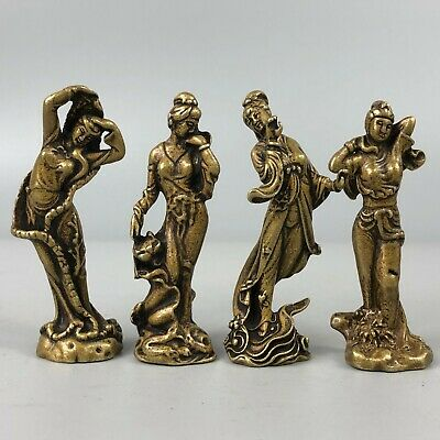 Antique Chinese Brass Handwork Collectible Rare Classical Four Beauties Statue