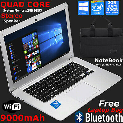 FAST CHEAP Wi-Fi WINDOWS 10 LAPTOP INTEL Quad Core 1.92Ghz 32GB eMMC 2GB RAM Lot