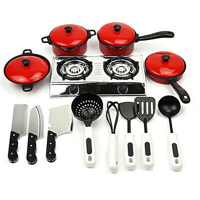 MINI KIDS PLAY Toy Kitchen Cooking Utensils Pans Pots Dishes ...