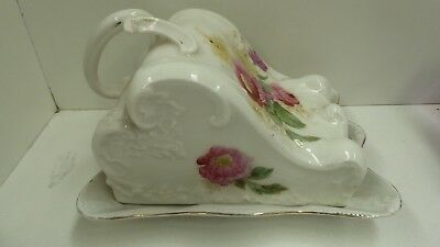 Antique Victorian Cheese Butter Dish Hand Painted Roses Pottery Stamped