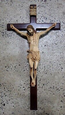 Vintage Plaster And Timber Cross Jesus On Crucifix Wall Statue