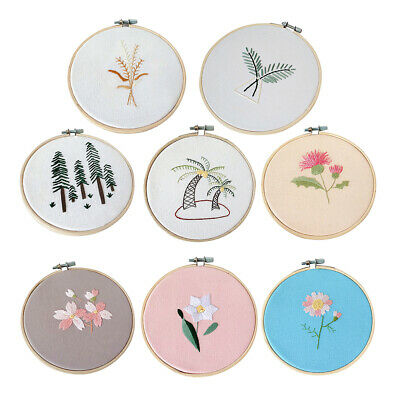 Starter Cross Stitch Set Embroidery Threads Kit With Fabric Hoop DIY Tools