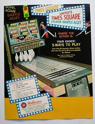 Williams United TIMES SQUARE Original 1971 NOS Shuffle Alley Arcade Game Flyer