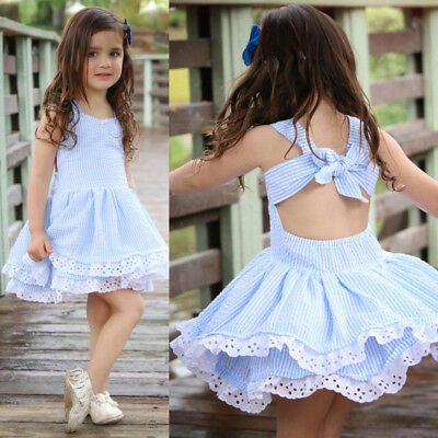 Summer Kids Baby Girl's Pageant Princess Sleeveless Stripe Lace Dress Clothes KW