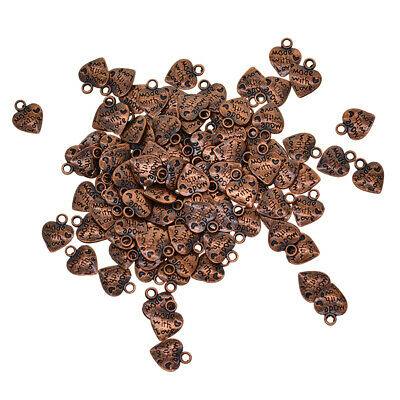 100x Ancient Copper MADE WITH LOVE Heart Charms Pendant Jewelry Making Craft