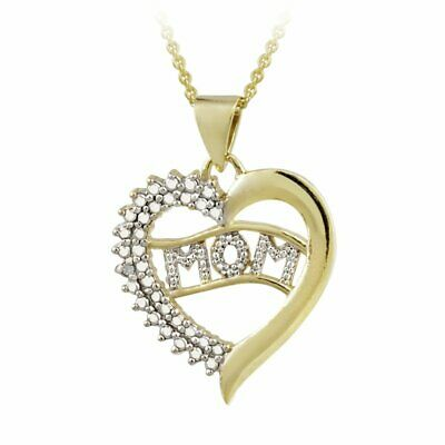 DB Designs 18k Gold over Sterling Silver Diamond Accent Heart 'Mom' Necklace