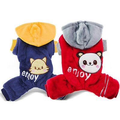 Cute Warm Pet Cat Pajamas Dog Jumpsuit Clothing Winter Small Puppy Coat Apparel