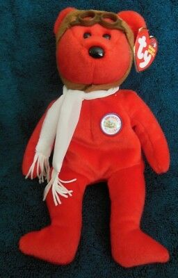 Ty Beanie Baby Bearon red Aviator MWMT