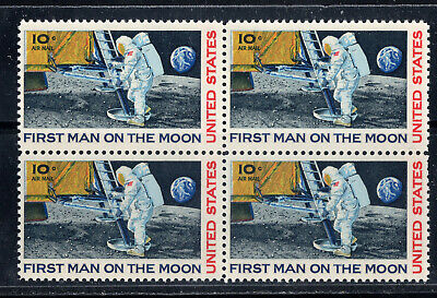 FIRST MAN ON THE MOON ** 1969 APOLLO 11 * Vintage U.S. Postage Stamps Block Mint