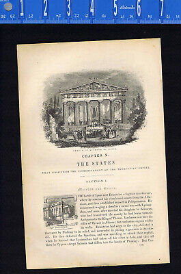 Temple of Minerva at Aegina & the Erectheum  -1846 Ancient History Engraving