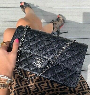 053d4d00af Timeless Classic Chanel Quilted Caviar Medium Double Flap Bag Silver Hw