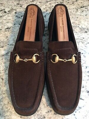 e8962b093cf GUCCI Brown Suede Driving Loafers Moccasins Gold Horsebit 117703 Womens SIZE  8 B