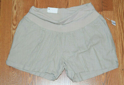 a89cff44d926b NWT Trendy OLD NAVY Maternity Khaki Linen Roll Panel Shorts Size Medium M 8  10