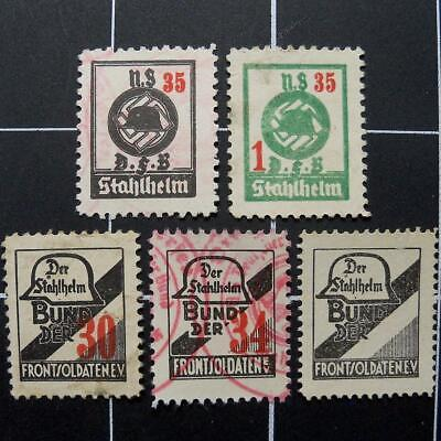 German STAHLHELM,STEEL HELMET revenue stamps/Xscarce 1930-1935 3rd Reich Germany