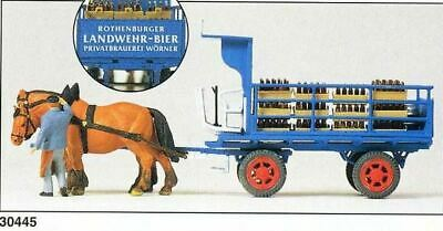 Preiser Ho Scale Figures Horse-Drawn Wagons Beer Wagon With 2 Horse Team | 30445