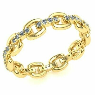 Natural 1 Ct Round Diamond Ladies Interconne Cted Wedding Eternity Band 10K Gold