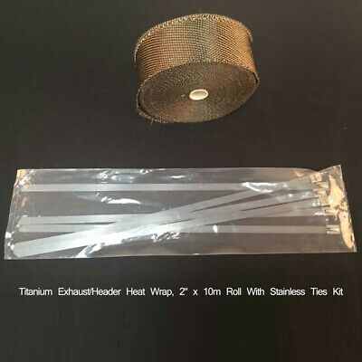 "1.5mm * 50mm * 15M Turbo Wrap Auspuff Wickeln Rollen Kabel Basaltfaser 2 "" Kit"