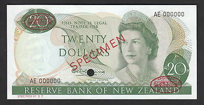 NEW ZEALAND P-167a. (1967) 20 Dolllar - SPECIMEN. Fleming.  AE Prefix. UNC