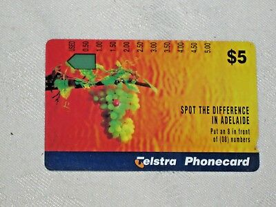 Rare Mint Unused Telstra Australia $5 Spot the Difference in Adelaide Phonecard