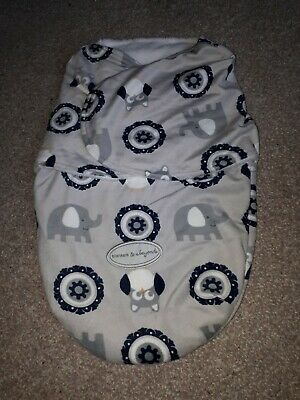 Blankets And Beyond Cosy Wrap Swaddle Elephants Owls Unused