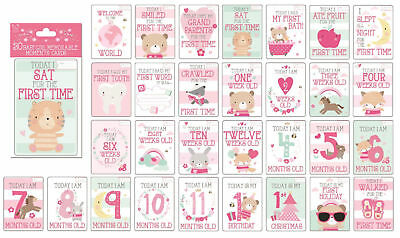 30 Baby Girls Memorable Moments Milestone Cards