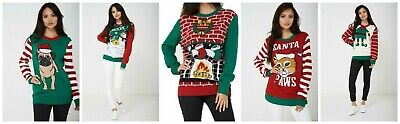 Unisex Ugly Christmas Xmas Tree Pug Cat Snowman Elf Sweater Jumper New In Bag
