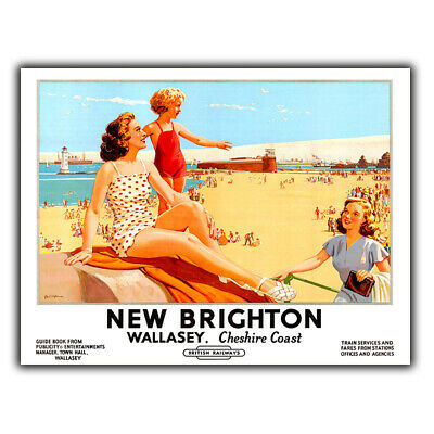 NEW BRIGHTON SIGN PLAQUE Vintage Retro Travel Advert METAL poster print