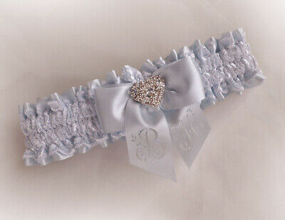 Light Blue Satin Lace  Bridal Personalized Garter Vintage Style