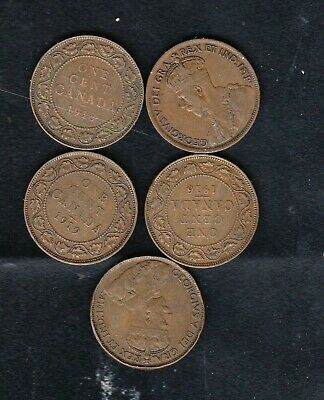 5  Canada Coins, 1 Cent 1916/1917/1918/1919/1920 Year