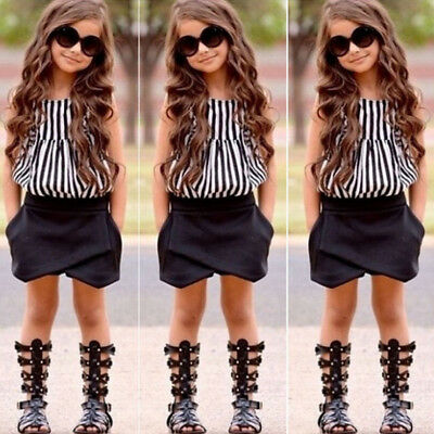 Toddler Kid Girls Striped T Shirt Tops + Shorts Short Pants Outfits Clothes KW