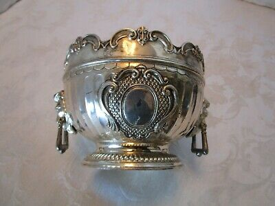 "Vintage Corbell & Co. Silver Plated Bowl with Lion's Head Handles 5"" across"