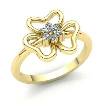 Natural 0.75carat Round Diamond Womens Flower Fancy Right Hand Ring 14K Gold