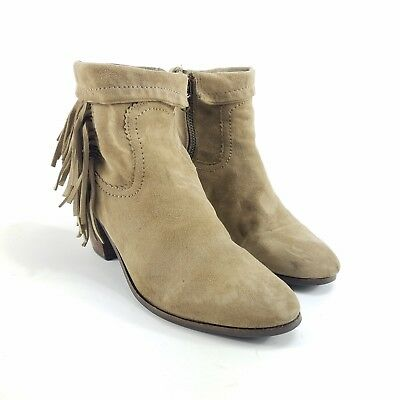 b23f5359a831 WOMENS SAM EDELMAN Boots Louie Brown Fringe Western Cuffable Ankle Booties  8.5 M