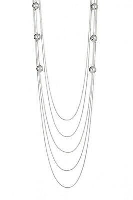 69bb8a53a Nordstrom Rack 14th & Union Women's 5 Layer Ball Station Necklace NWt 45  SILVER